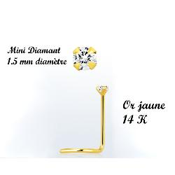 Piercing nez or jaune 14 K diamant véritable