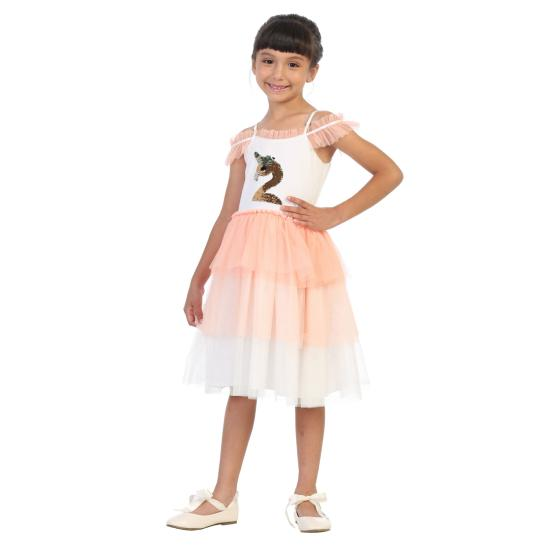 Robe fille tutu motif flamand rose sequins reversibles