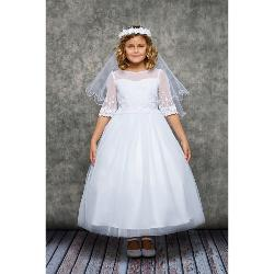 Robe Communion Fille Brodée Manches 3/4
