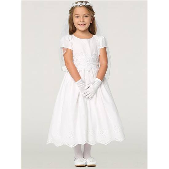 Robe Blanche 6 A 12 Ans En Broderie Anglaise Manches Courtes