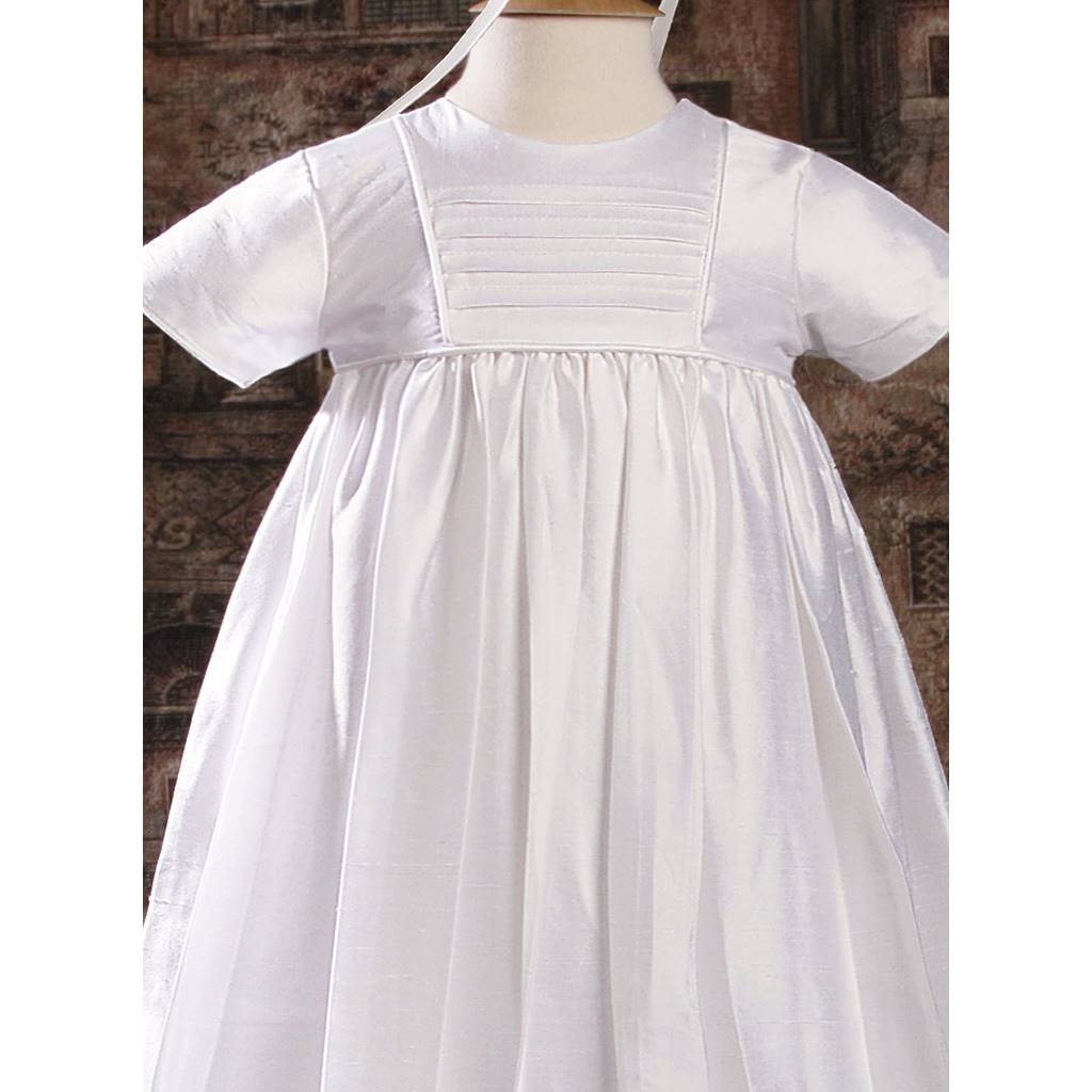 a0753477cb9db Robe de baptême traditionnelle mixte soie blanc - princesa.fr