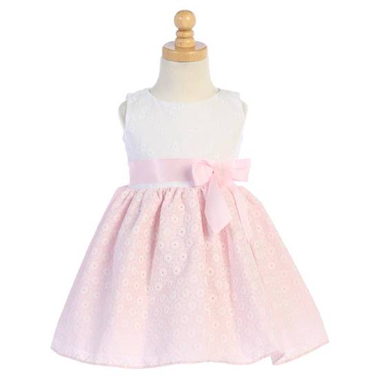 Robe Broderie Anglaise Fille Rose