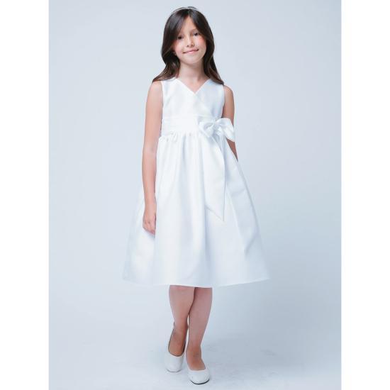 d9dc30606fee1 Robe communion fille simple blanche avec noeud devant